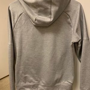 Adidas gray with gold writing hoodie